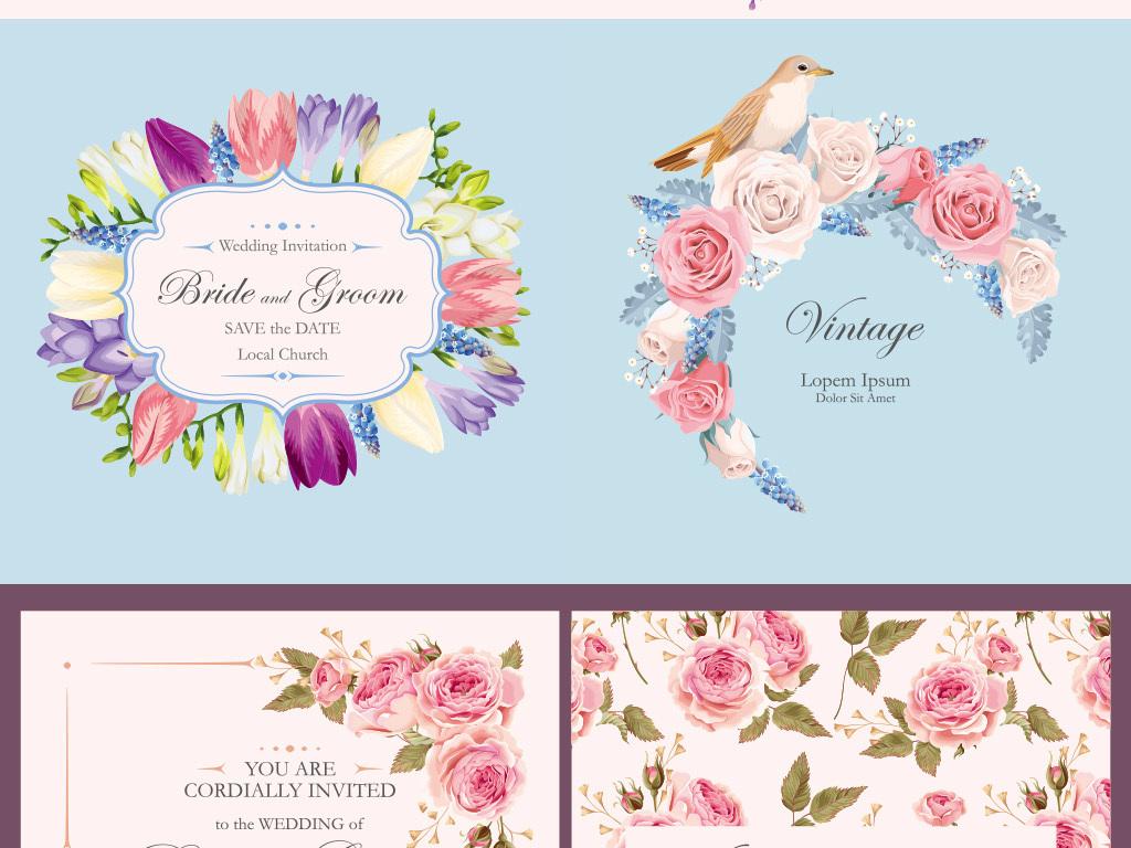 花鸟手绘花鸟背景手绘唯美背景唯美卡片背景全套花鸟婚礼感恩