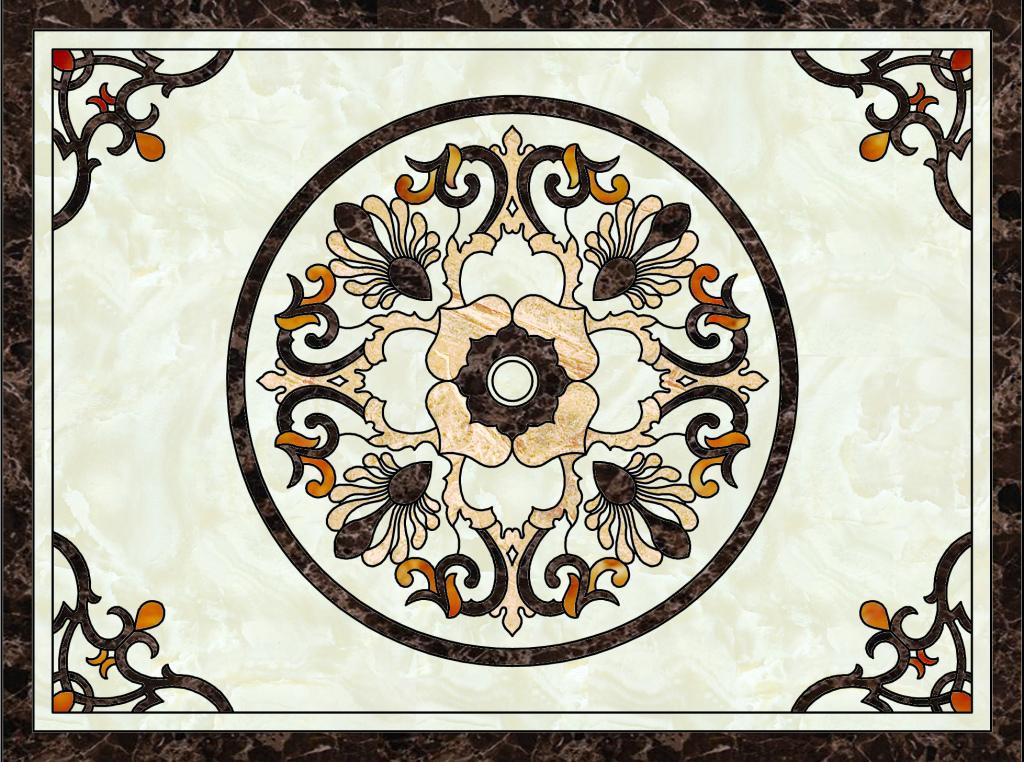 欧式花纹高清分层大理石纹陶瓷瓷砖地砖拼花