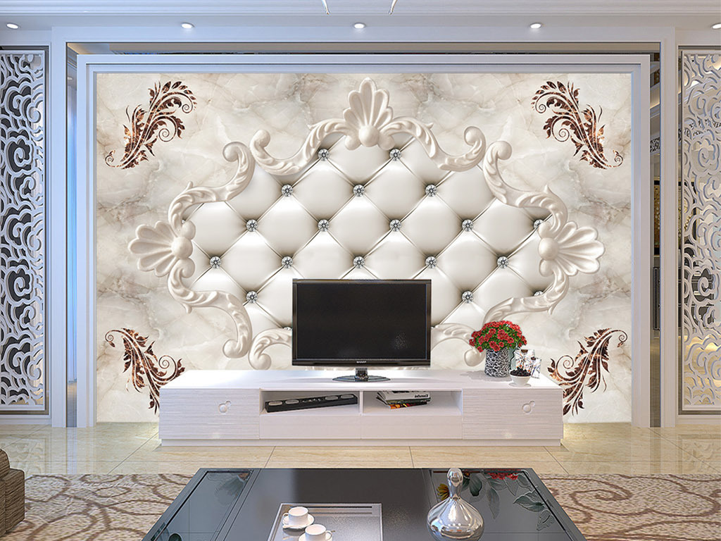 欧式软包大理石背景墙图片