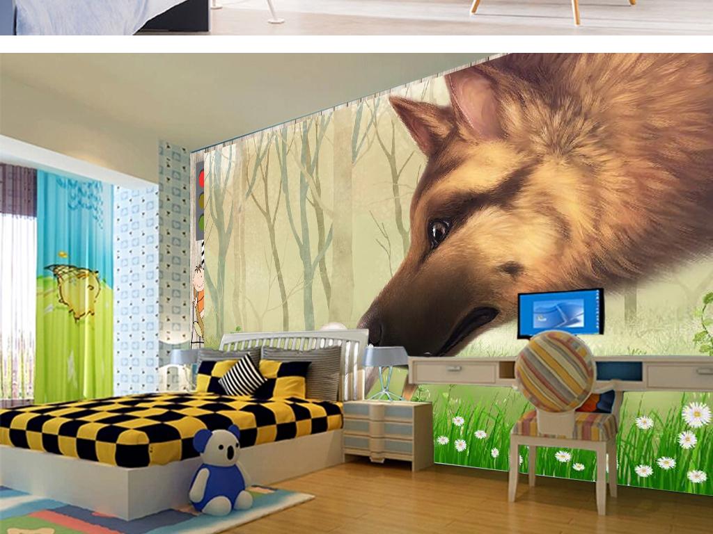 卡通森林狼和小动物儿童房背景墙