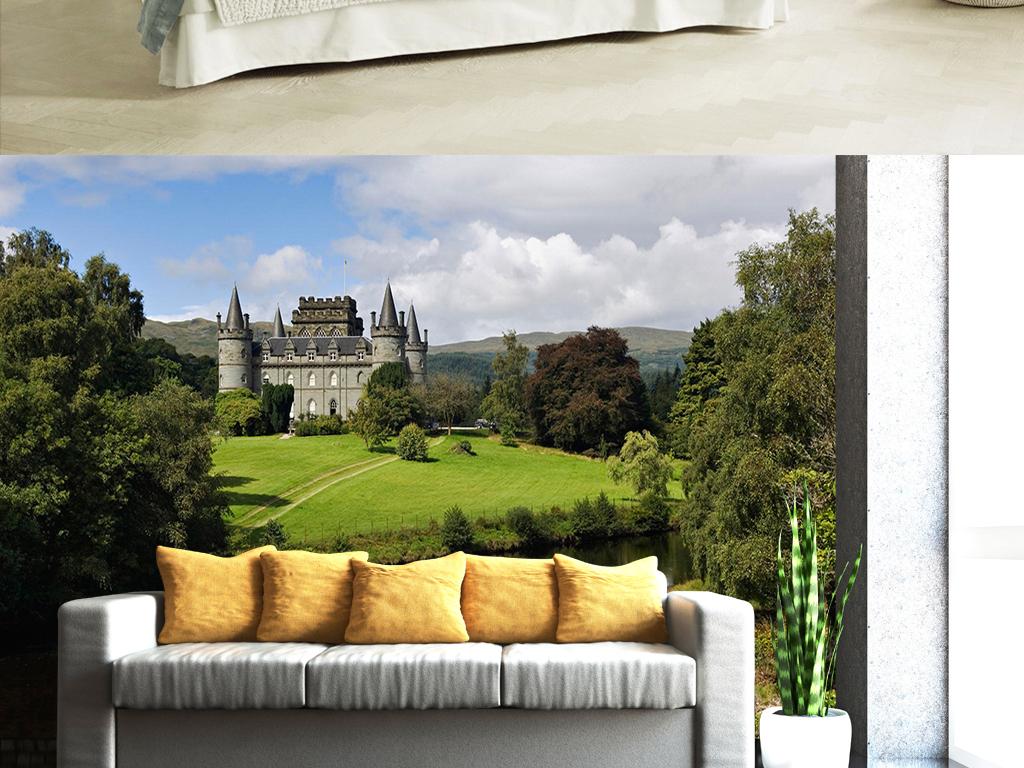 欧式城堡树林绿色风景客厅电视背景墙