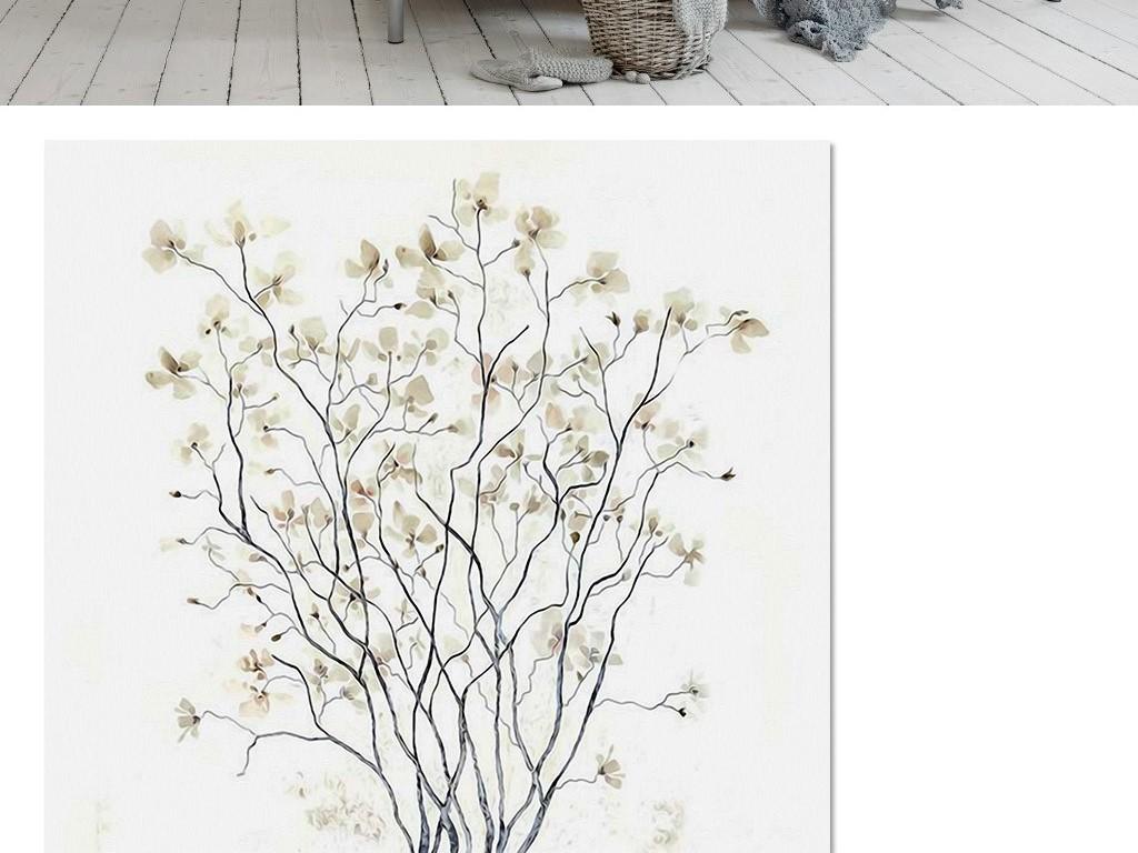 素雅极简北欧风格抽象树林叶子电视背景墙图片