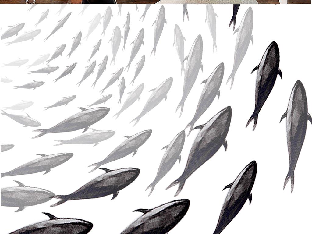现代简约黑白水墨鱼(图片编号:15702354)_中国风无框