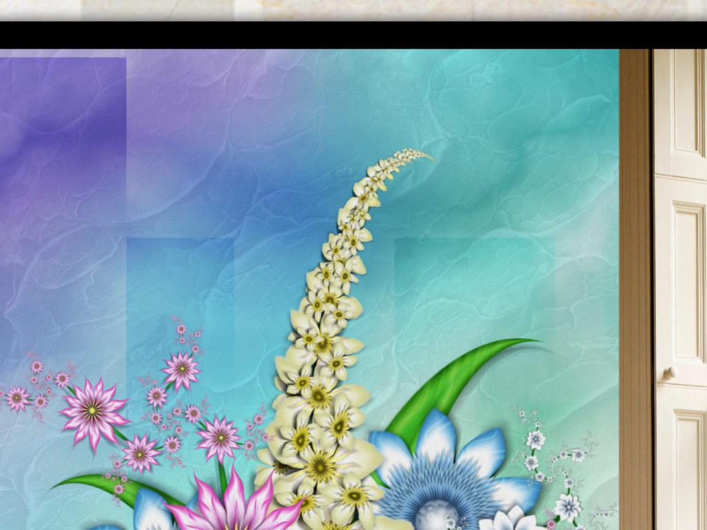 背景墙|装饰画 玄关 山水花鸟玄关图 > 欧式唯美抽象花朵玄关背景墙