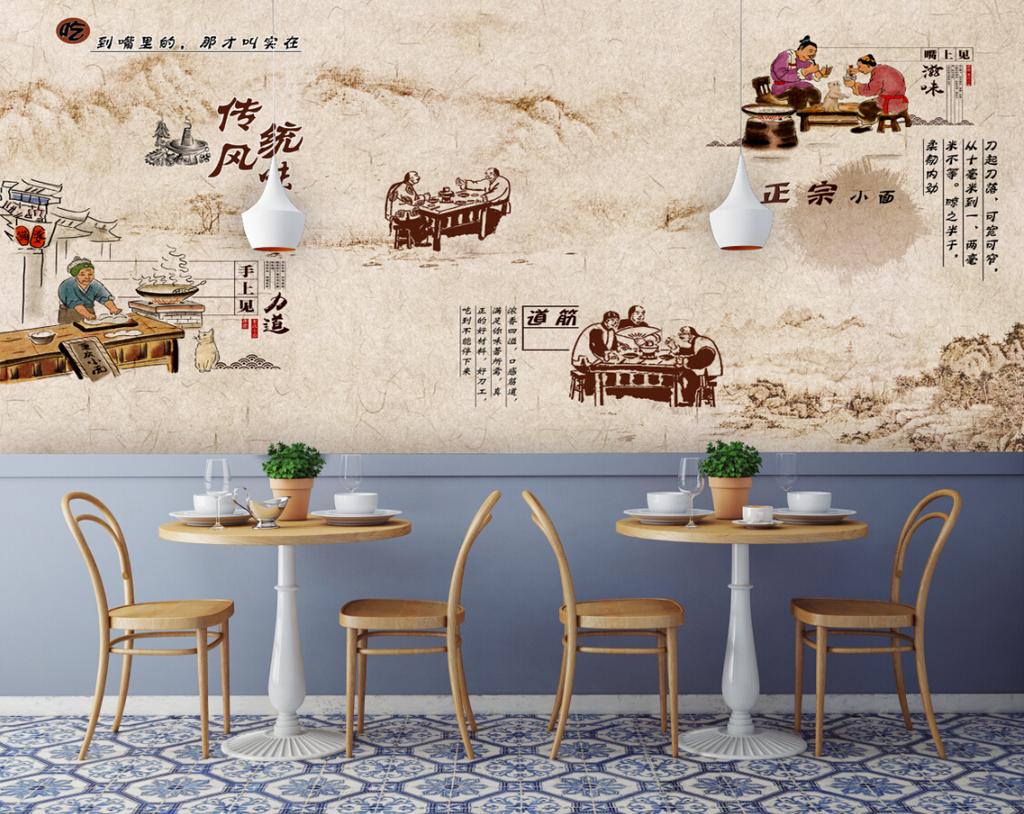 背景墙|装饰画 电视背景墙 欧式电视背景墙 > 手绘人物传统美食餐饮