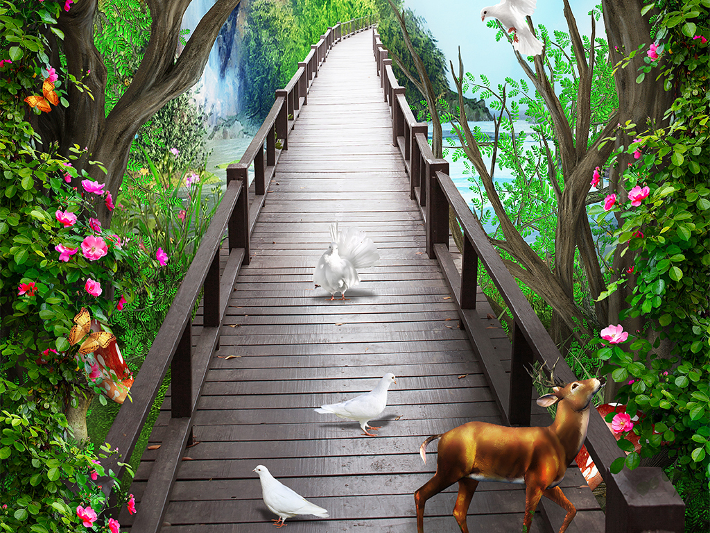 唯美梦幻木板桥麋鹿花藤3d玄关背景墙壁画 位图, rgb格式高清大图,使