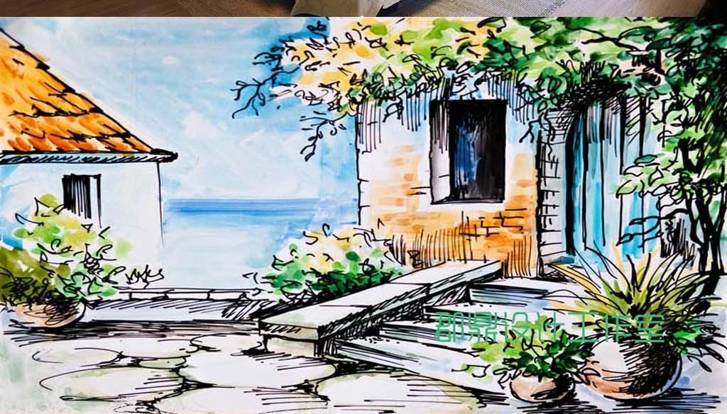 巨幅手绘油画风景房子城市街道背景墙壁纸