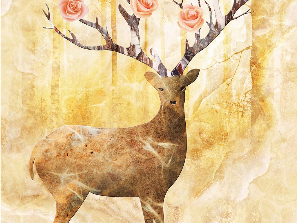 背景墙|装饰画 玄关 彩雕玄关 > 森林神鹿大理石欧式玄关  版权图片
