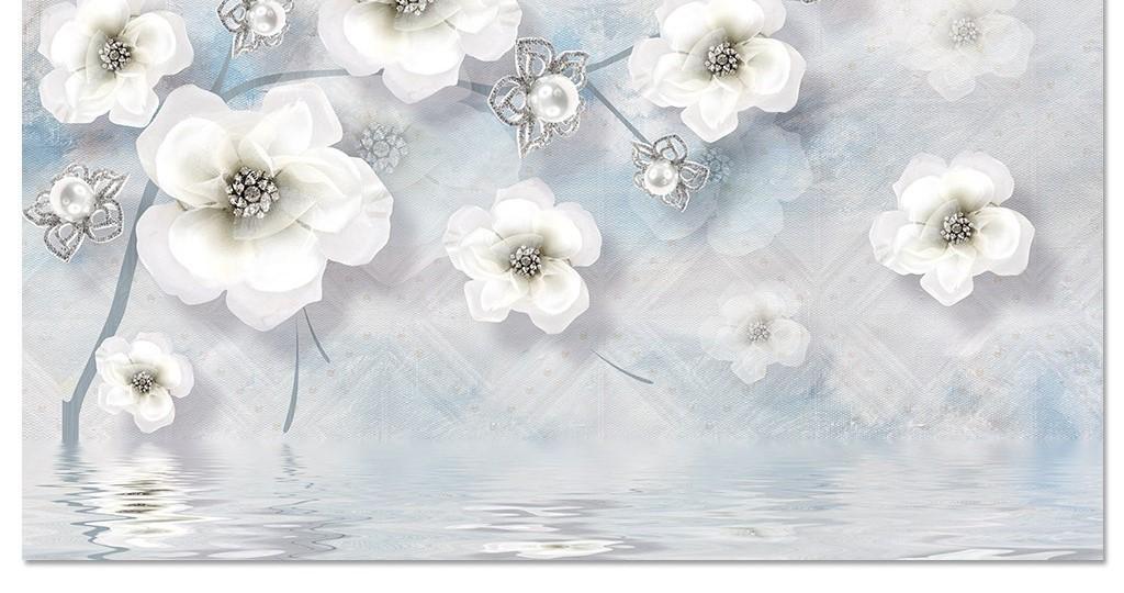 3d立体珠宝珍珠花朵水纹欧式电视背景墙