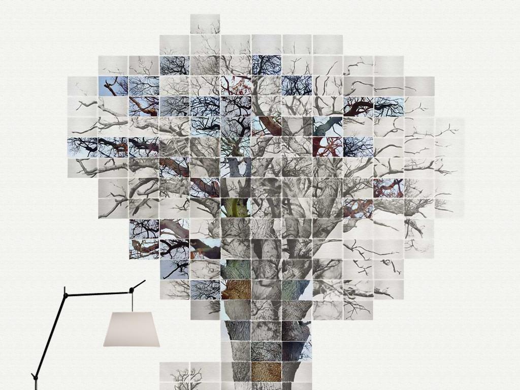 现代个性马赛克拼贴树文艺壁画背景墙装饰画