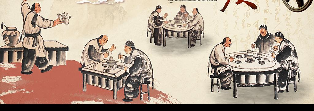 饭店大厅形象墙背景墙壁画手绘火锅店