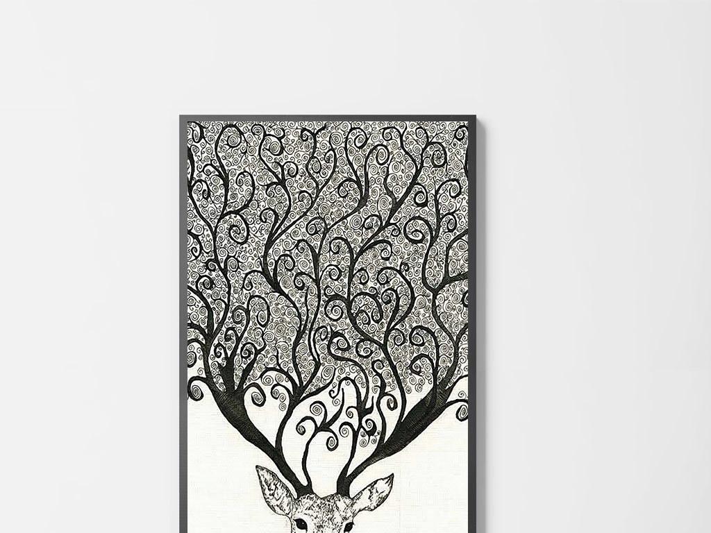 创意黑白麋鹿无框画(图片编号:15722202)_动物图案无