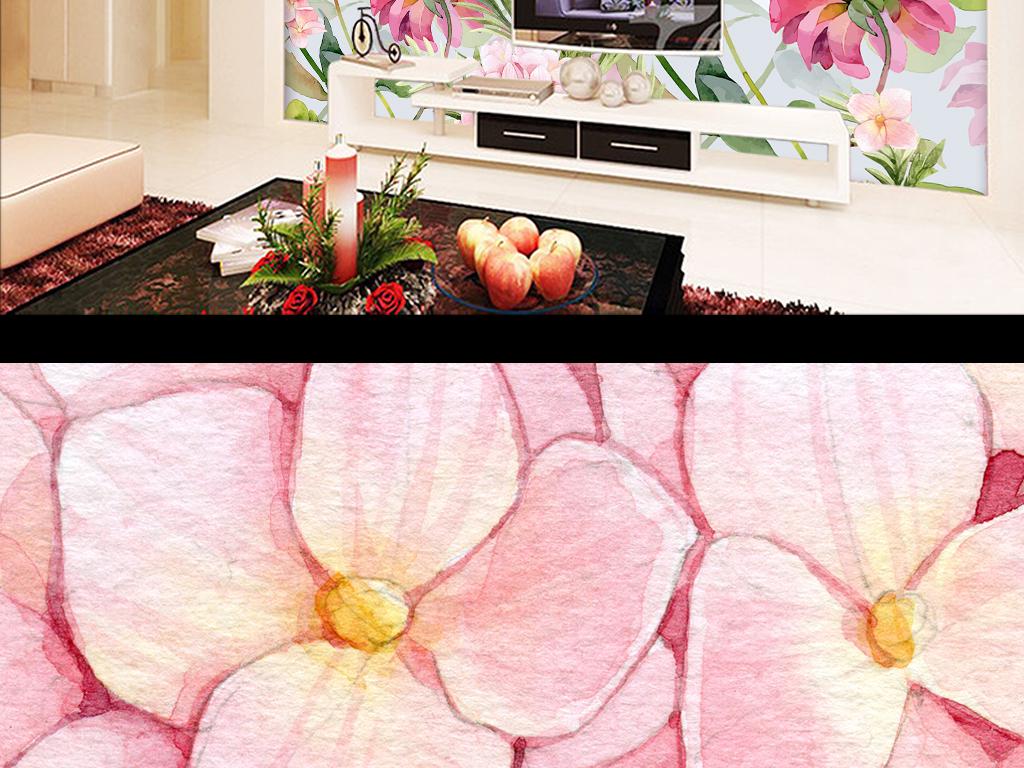 欧式田园花卉墙纸手绘水彩卧室床头背景墙