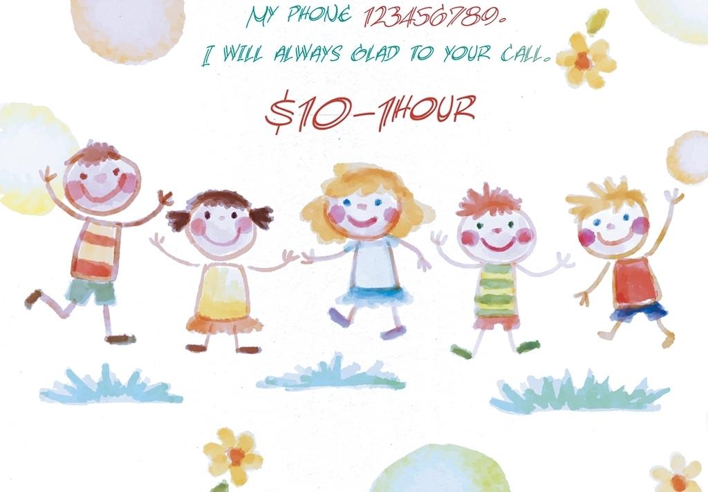 水粉手绘卡通儿童活动派对psd宣传海报