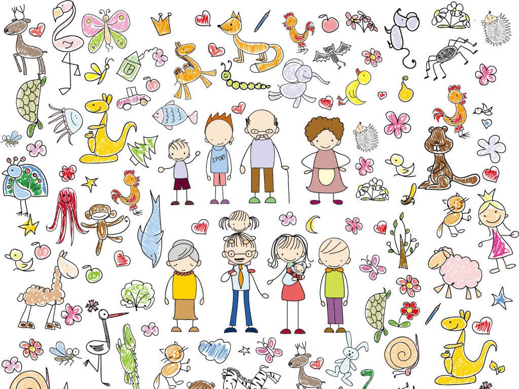 平面|广告设计 其他 插画|元素|卡通 > 91款手绘人物和动植物矢量图
