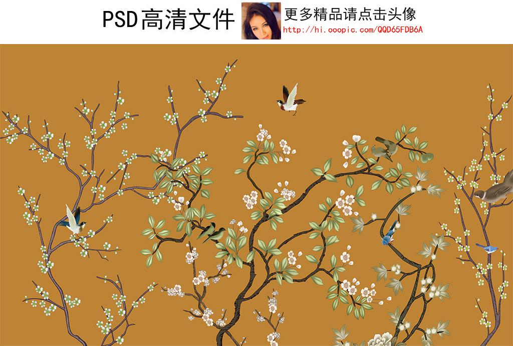 手绘工笔花鸟桃花新中式背景墙壁画(图片编号:)_中式