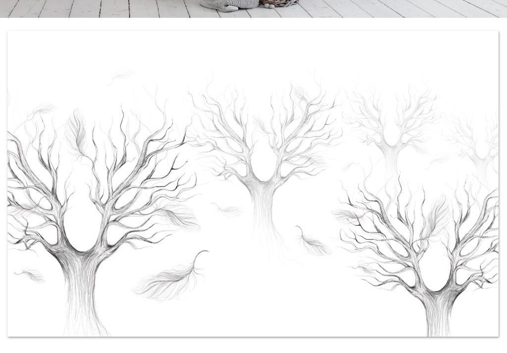 北欧极简黑白素描森林抽象树羽毛电视背景墙