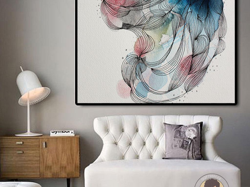北欧风水彩手绘线条花朵唯美无框画