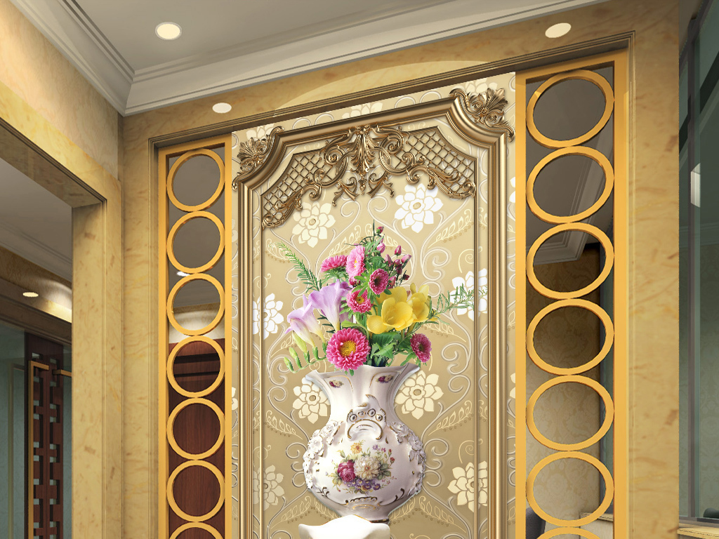 欧式边框花瓶玄关背景墙装饰画