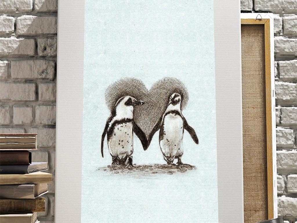 手绘创意企鹅爱心无框画