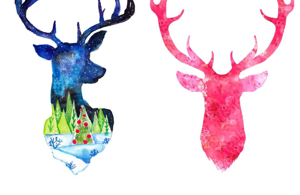 水彩动物装饰无框画壁画背景设计