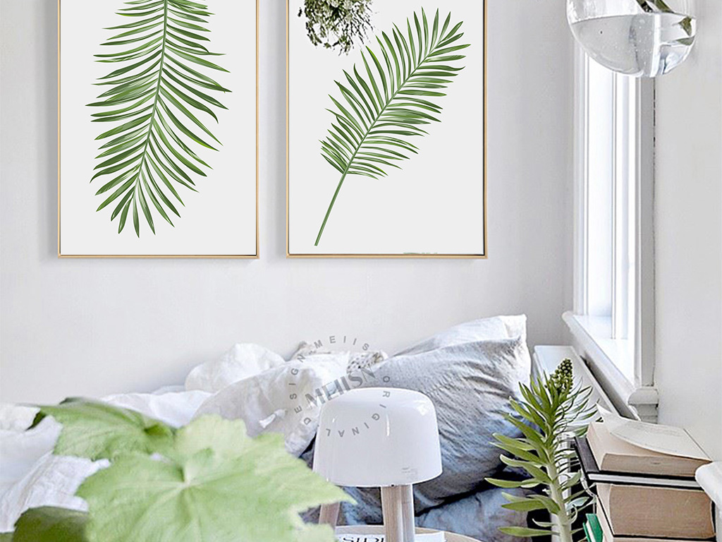 墙画沙发背景墙北欧简约现代简约简约现代植物花卉绿色