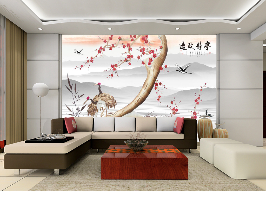 仙鹤背景玻璃电视背景墙图片电视墙壁纸图片电视墙壁纸3d电视背景墙艺