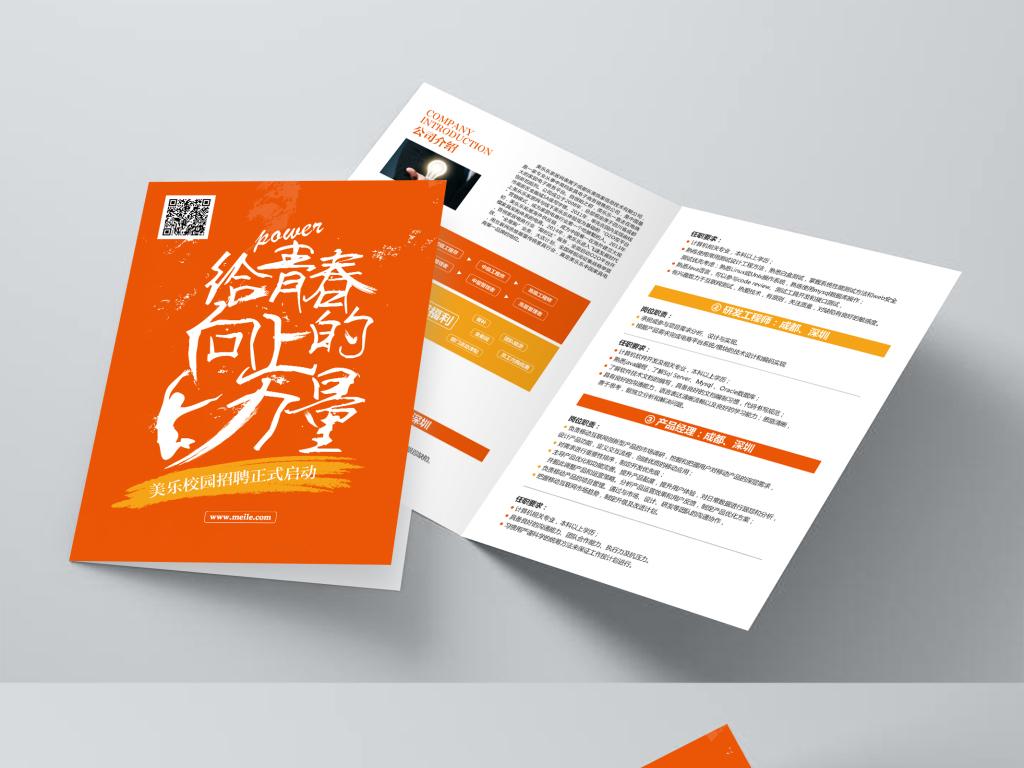 平面|广告设计 宣传单 折页设计|模板 > 创意风格校园招聘宣传折页