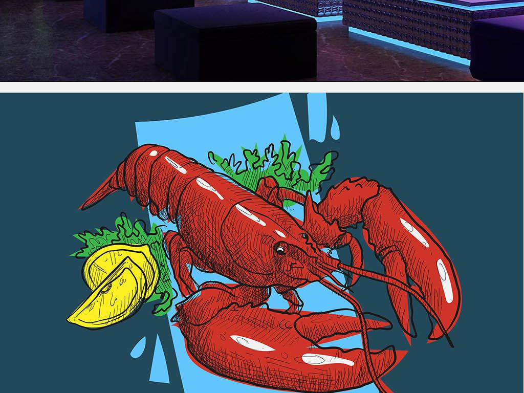 背景墙|装饰画 工装背景墙 酒店|餐饮业装饰背景墙 > 大龙虾小龙虾