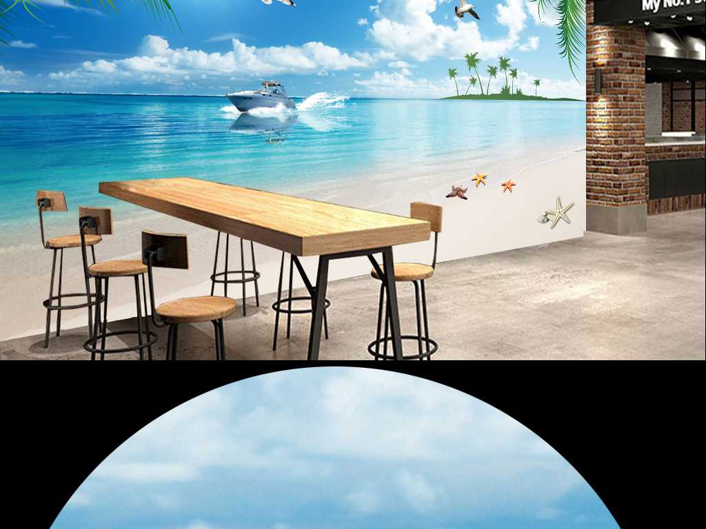 蓝天白云大海沙滩椰树快艇海鸥海景背景墙
