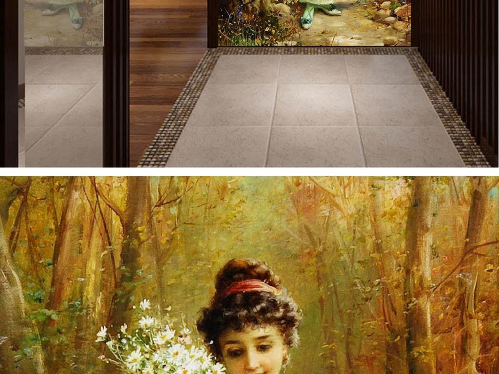 欧式花园少女玄关壁画