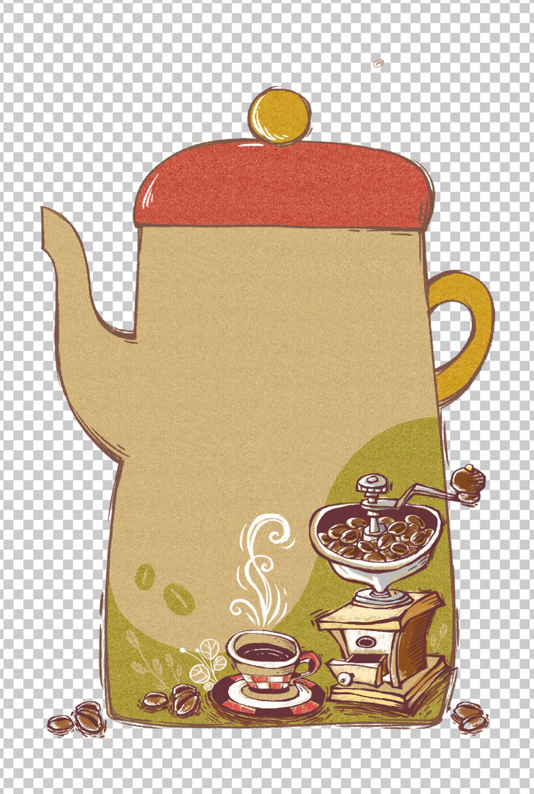 卡通简笔画茶壶咖啡机设计元素图片素材 ai模板下载 51.12MB 居家物品大全 生活工作