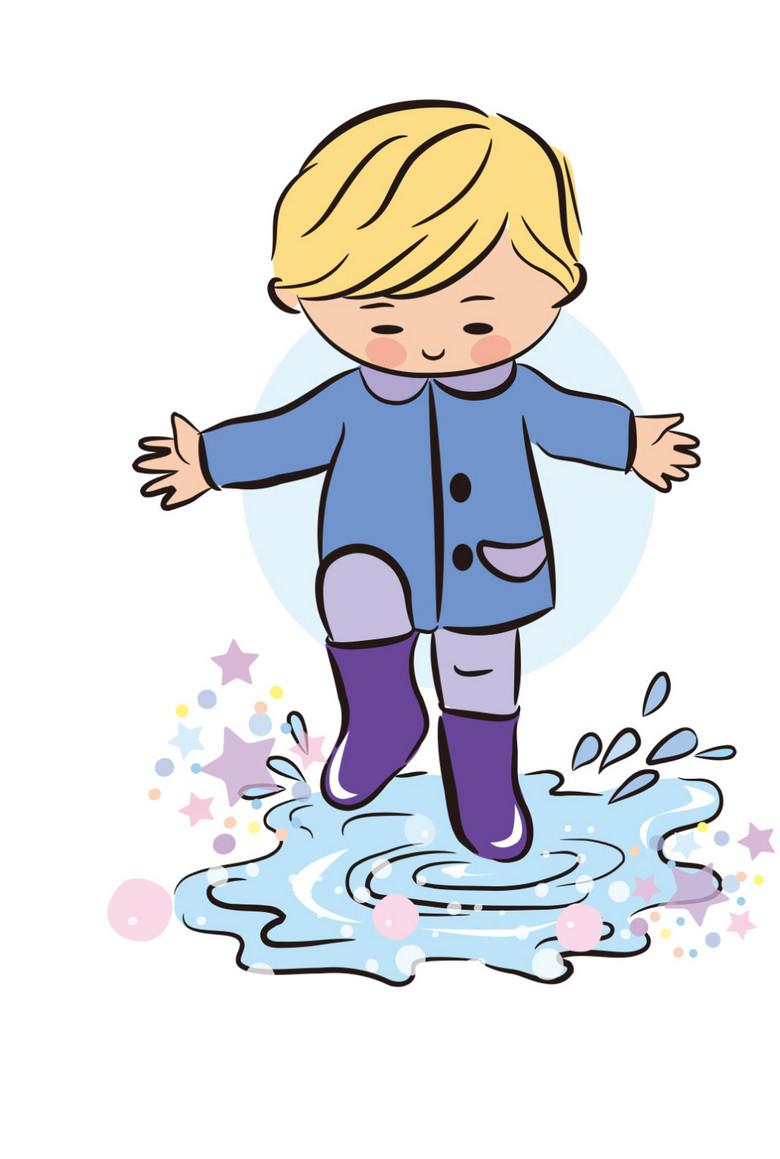 卡通快乐儿童十雨天踩水图片素材 ai模板下载 0.29MB 儿童大全 人物形象