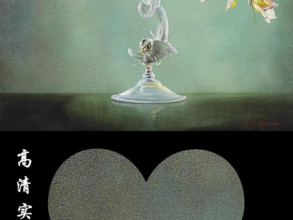 欧式玫瑰艺术玻璃瓶玄关
