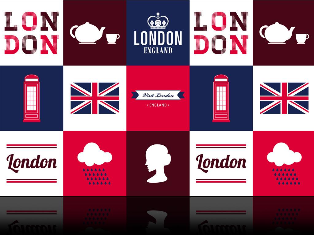英伦风英国国旗伦敦电话亭英格兰时尚背景墙
