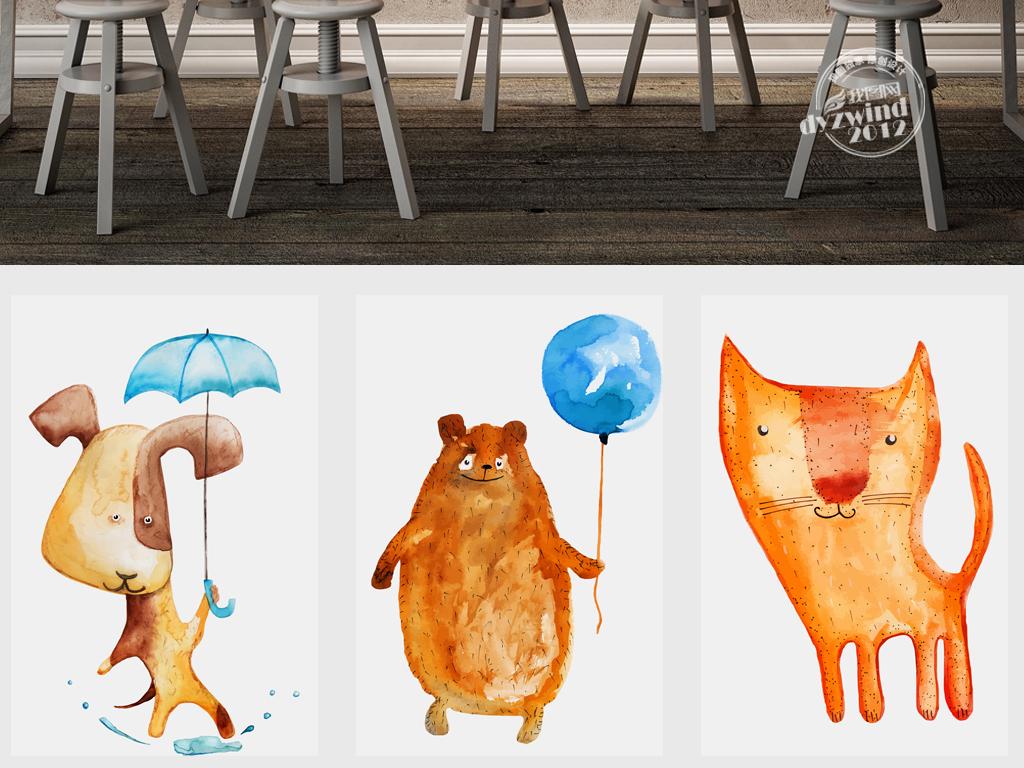 简约手绘励志小熊卡通动物简约欧式卡通装饰画欧式动物装饰画欧式北欧