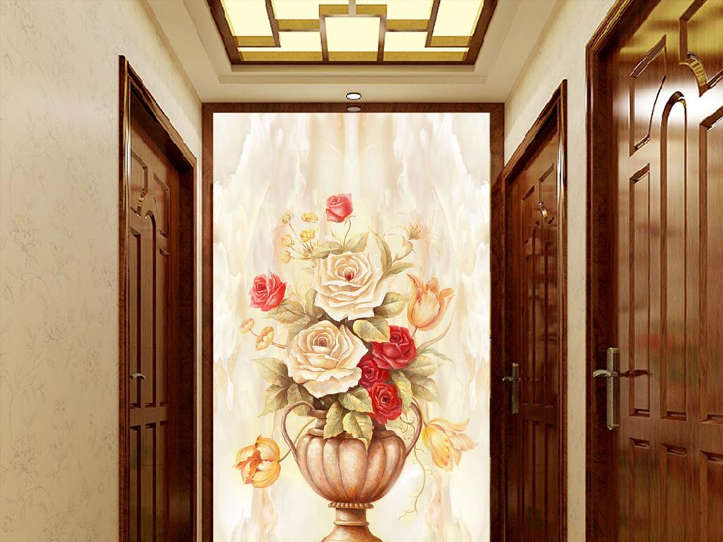 欧式大理石纹玄关花卉背景墙