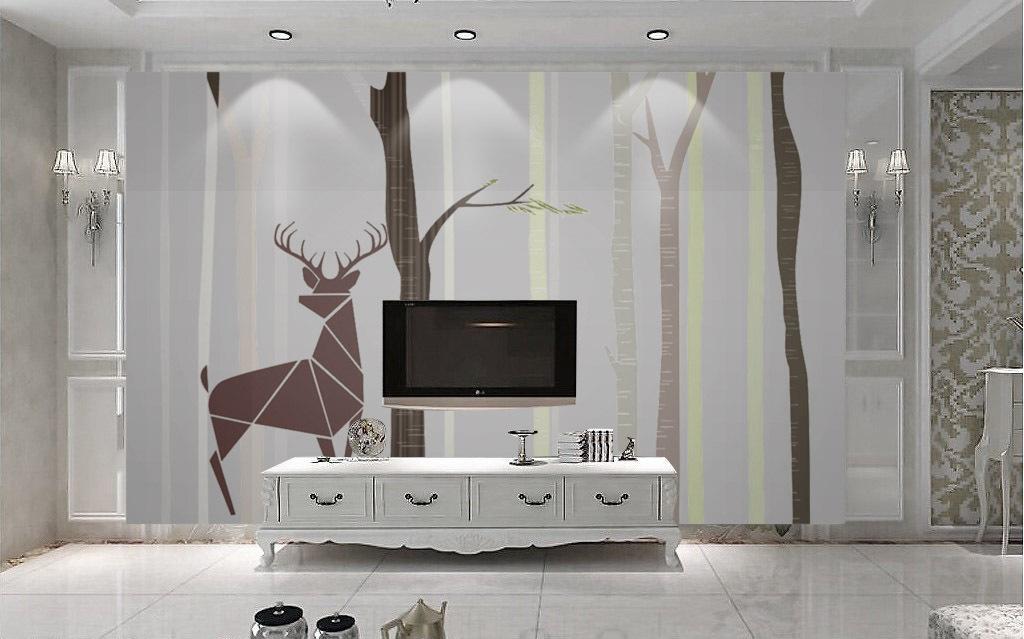 北欧北美简约抽象树林树干麋鹿手绘背景墙