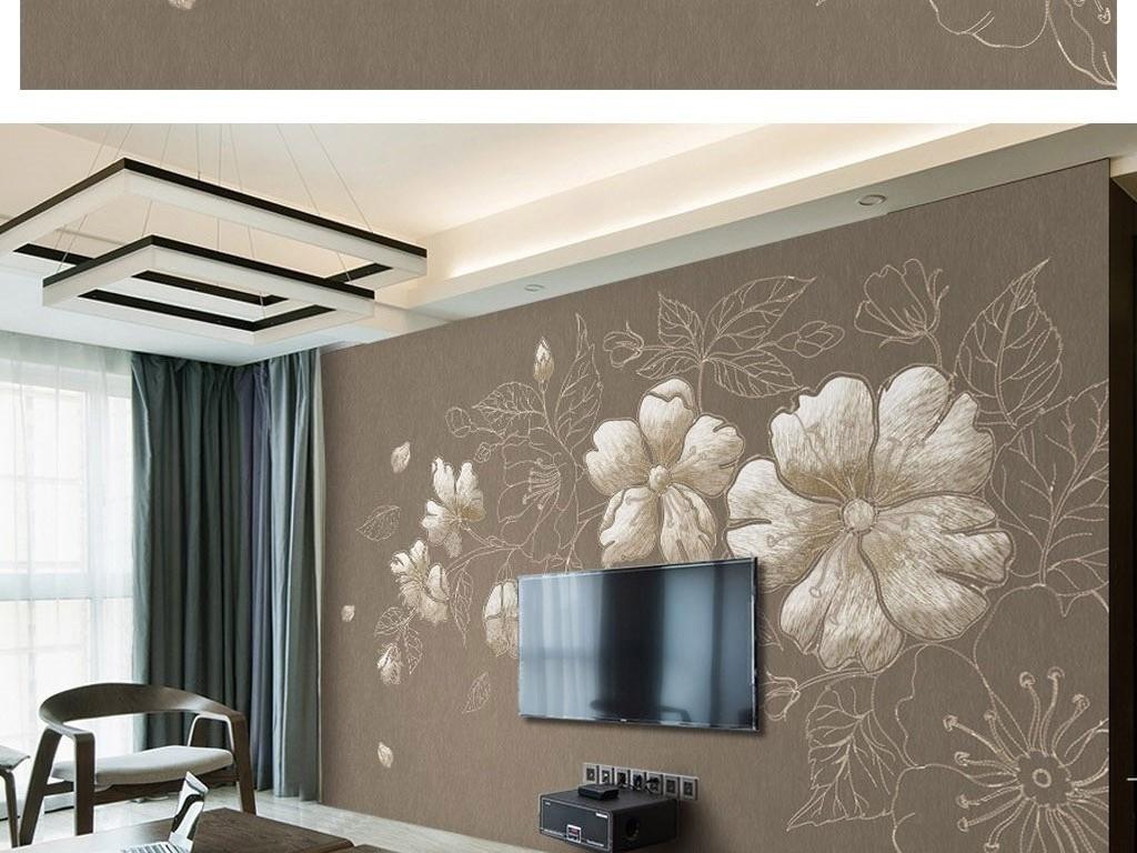 中国风新中式3d刺绣梅花咖色电视背景墙