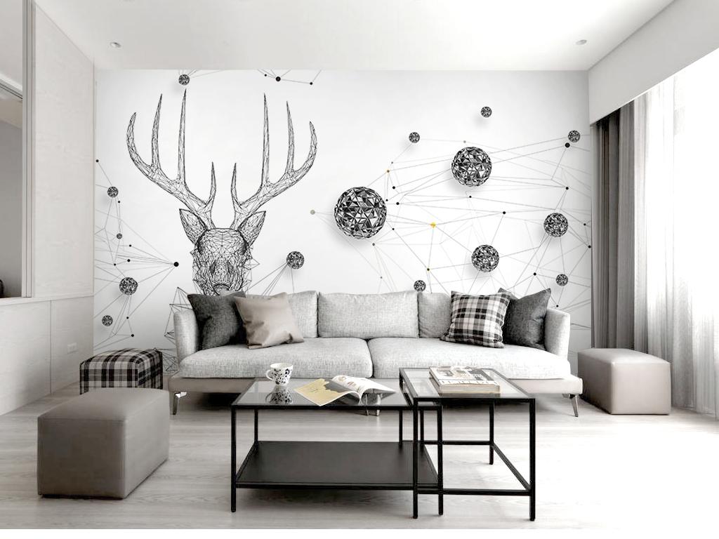 3d立体时尚线条星球麋鹿黑白电视背景墙