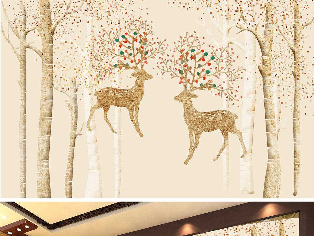 麋鹿森林北欧装饰画欧式背景墙复古背景鹿