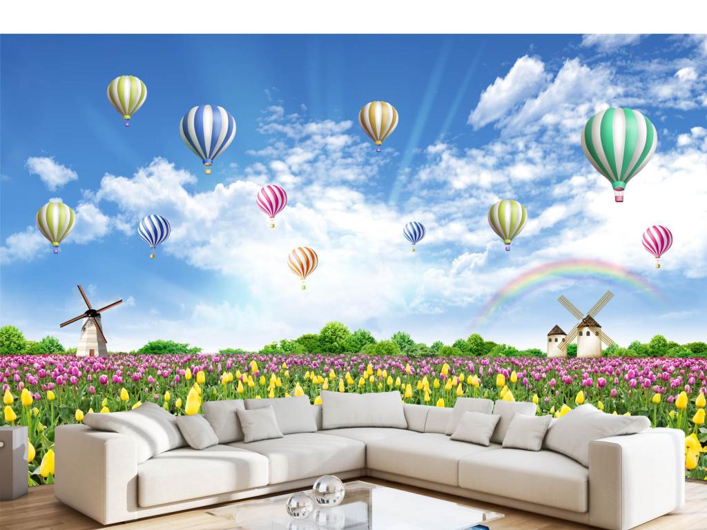 美丽花海郁金香热气球风景画电视背景墙