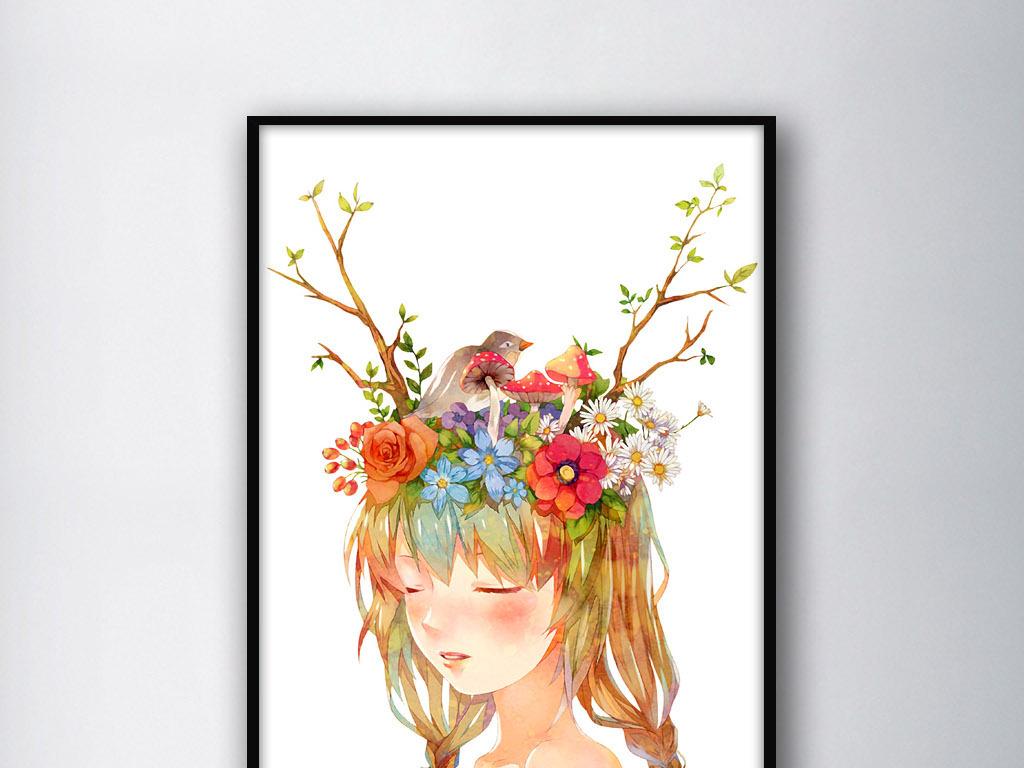 可爱头上开满鲜花的神仙姐姐手绘装饰水彩画