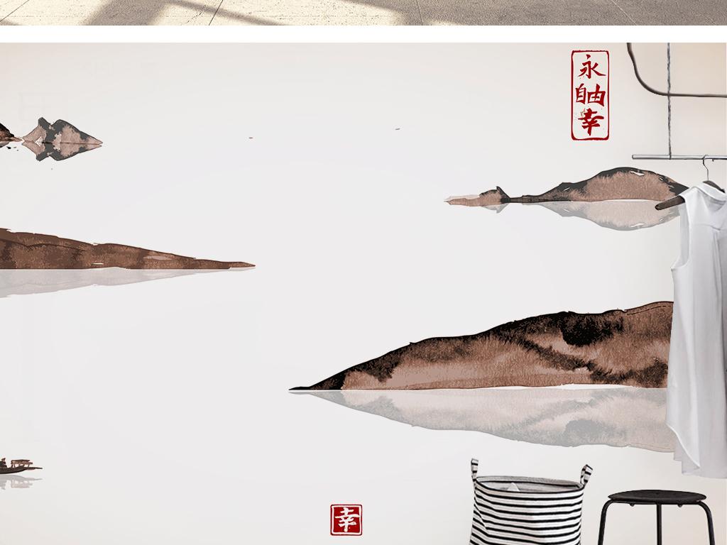 新中式手绘山水风景浮世绘风格抽象背景墙