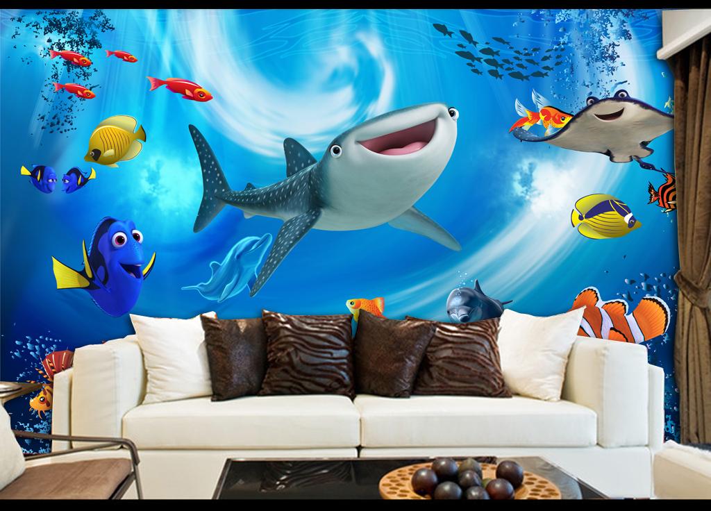 海洋世界3d儿童房背景墙立体壁画