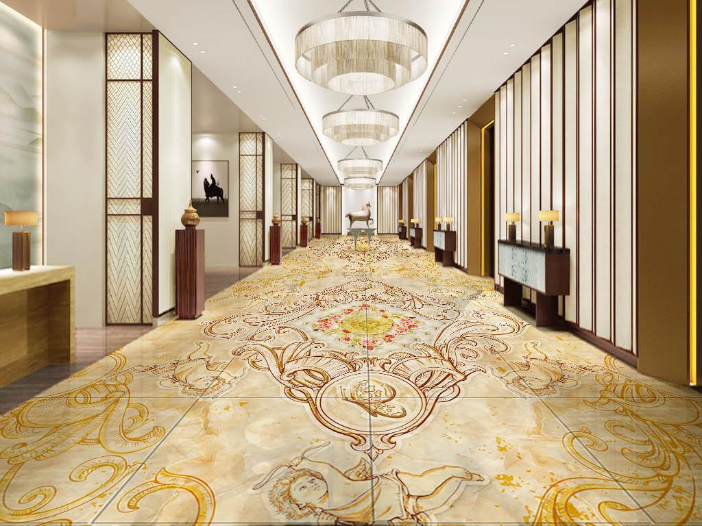 尊贵古典欧式风格别墅室内大理石纹3d地板