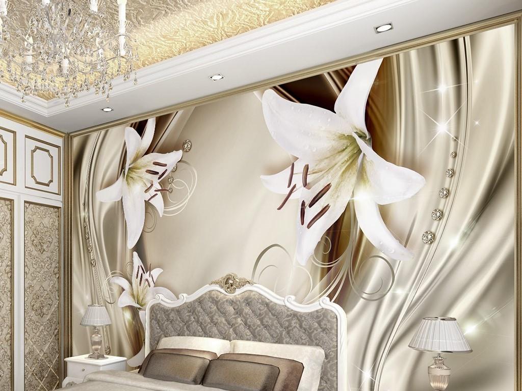 金色3d立体百合花绸缎欧式花纹电视背景墙(图片编号:)