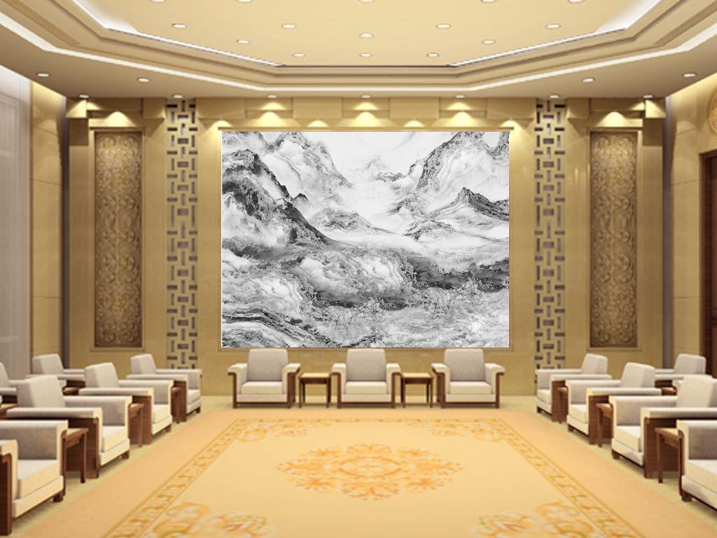 水墨石风景画大理石纹背景墙