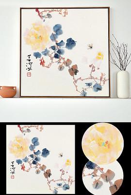 中式荷花花开富贵家和万事兴无框画装饰画