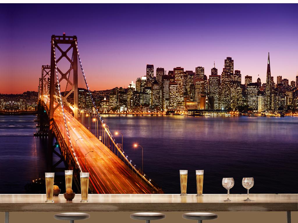 欧美城市大桥夜景夜景背景世界著名建筑大海